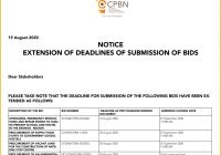 Extension of Deadlines of Submission of bids